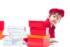 Santa Claus baby girl Stock Photo