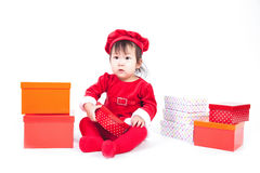 Santa Claus baby girl Royalty Free Stock Images