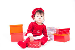 Santa Claus baby girl Royalty Free Stock Photos