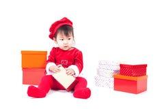 Santa Claus baby girl Royalty Free Stock Photography