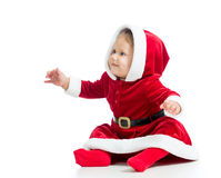 Santa Claus baby girl on white background Royalty Free Stock Images