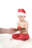 Santa claus baby in studio in christmas time Stock Photos