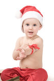 Santa claus baby in studio in christmas time Royalty Free Stock Images