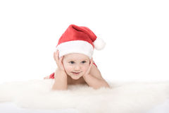 Santa claus baby in studio in christmas time Royalty Free Stock Image