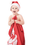 Santa claus baby in studio in christmas time Royalty Free Stock Photos