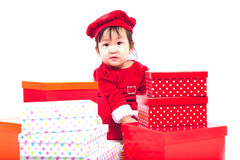 Santa Claus-babymeisje Royalty-vrije Stock Afbeeldingen