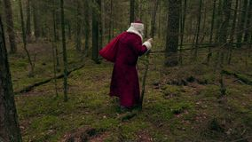 Santa Claus with back pain stock footage