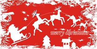 Santa Claus Background. Flying Santa Claus background with deers vector illustration