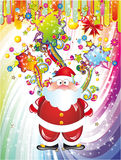 Santa Claus Background with Colorful Fantasy Eleme. Abstract Santa Claus Background with Colorful Fantasy Elements Stock Photo