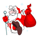 Santa Claus with a bag. Of gifts isolated on white Stock Photo