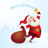 Santa Claus with a bag and bell. Royalty Free Stock Images