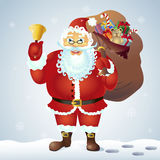 Santa Claus with a bag and bell. Vector. Santa claus with bell on white background. Royalty Free Stock Photography