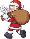 Santa Claus with bag. Santa Claus carrying a big bag. Vector clip art illustration with simple gradients. All in a single layer Stock Photography