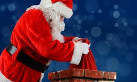 Santa Claus Bag Chimney Arkivfoto