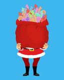 Santa Claus and bag of Cockerel candy. Christmas sack and lollip Stock Images