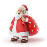 Santa Claus with a bag of gifts. 3d illustration,  work path included Stock Photography
