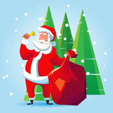 Santa Claus with a bag. Of gifts and a bell. Cartoon illustration for Christmas Stock Illustration