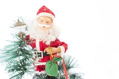 Santa Claus with a bag of gifts. Santa Claus with a bag of gifts and a garland. White background. isolated Stock Photography