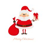 Santa Claus with a bag of gifts and gift box Royalty Free Stock Images