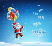 Santa Claus with a bag of gifts in hurry to sell Stock Photos