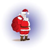 Santa Claus with a bag of gifts. Merry Christmas Royalty Free Stock Photo