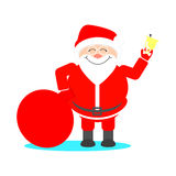 Santa Claus with a bag of gifts rings the bell and smiling. Chri. Stmas card Royalty Free Stock Photos