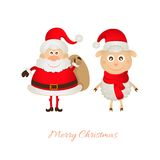 Santa Claus with a bag of gifts and sheep Royalty Free Stock Photography