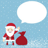 Santa Claus with a bag of gifts and speech bubble Stock Image
