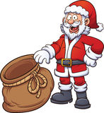 Santa Claus with bag. Santa Claus holding an open bag. Vector clip art illustration with simple gradients. Santa, front of the bag and back of the bag on Royalty Free Stock Photo