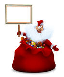 Santa Claus is in a bag and holds in a hand the announcement Stock Photography