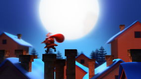 Santa Claus. With bag jumps between and inside chimneys on the rooftop royalty free illustration
