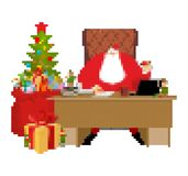 Santa Claus and bag pixel art. New Year big red sack with gifts. Xmas 8bit. Video game Old school Merry Christmas stock illustration