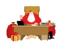 Santa Claus and bag pixel art. New Year big red sack with gifts. Xmas 8bit. Video game Old school Merry Christmas royalty free illustration