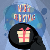 Santa Claus Bag With Present Gift Box Shadow Royalty Free Stock Photography