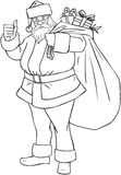 Santa Claus With Bag Of Presents For Christmas Col. Vector illustration coloring page of Santa Claus holding a huge bag full of presents for Christmas royalty free illustration
