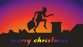 Santa claus with bag on the roof - merry christmas Stock Photo