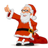 Cheerful Santa Claus isolated on white background. Smiling Santa Claus cartoon character with a bag  on white background Royalty Free Stock Images