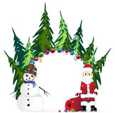 Santa Claus with  bag and  snowman Stock Image