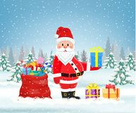 Santa claus with a bag of toys vector illustration