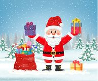 Santa claus with a bag of toys royalty free illustration