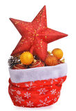 Santa claus bag wit christmas toys and red top star Stock Photography
