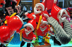 Santa Claus balloons in the store window Stock Photography