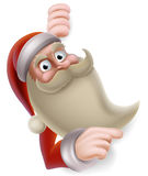 Santa Claus Banner. Cartoon Christmas illustration of Santa Claus pointing at a banner Royalty Free Stock Image