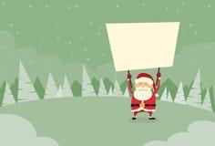Santa Claus Banner, espacio en blanco blanco del tablero de la muestra vacío stock de ilustración