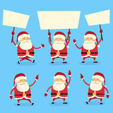 Santa Claus Banner, White Sign Board Blank Empty Royalty Free Stock Photography