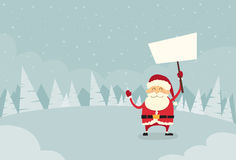 Santa Claus Banner, White Sign Board Blank Empty. Copy Space Winter Snow Forest Christmas Holiday Flat Vector Illustration Royalty Free Stock Photo
