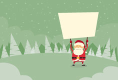 Santa Claus Banner, White Sign Board Blank Empty Stock Photography