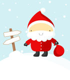 Santa Claus and banners Stock Image