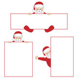 Santa Claus with banners. Set of three Santa Claus illustrations holding banners. Isolated on white background.EPS file available Royalty Free Stock Images