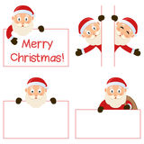 Santa Claus and Banners Set. Collection of five cartoon Santa Claus characters with blank banner in different positions and expressions, isolated on white Royalty Free Stock Photo